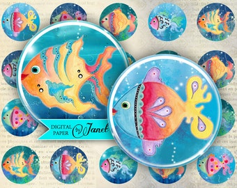 FISH color - circles image - digital collage sheet - 1 x 1 inch - Printable Download