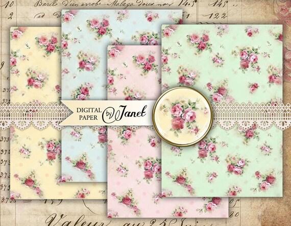 Romantic Paper Roses - digital collage sheet - set of 2 sheet - Printable Download