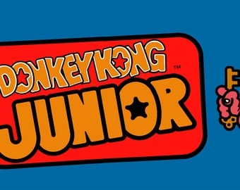 """Donkey Kong Junior Marquee, Arcade, 12 x 36"""" Video Game Poster, Print"""