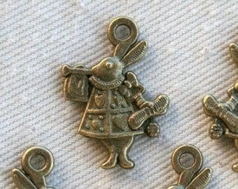 6 Bronze Alice in Wonderland Rabbit of Hearts Charms/Pendants CB-0020