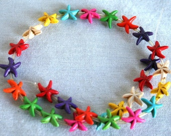 Full Strand of Colorful Magnesite Star Fish Beads