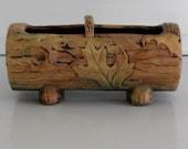 Vintage Weller Pottery  planter, log with leaf motif