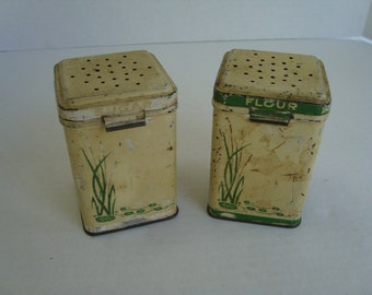 Pair of Vintage Tin Shakers