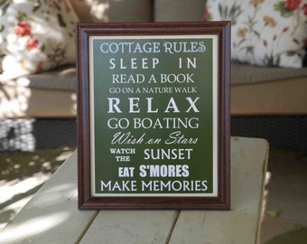 Cottage Rules Framed Sign