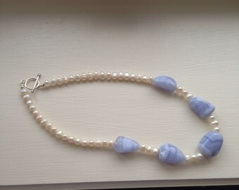 Freshwater Pearl and lilac blue agate necklace