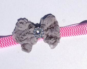 Chevron Headband with Rosette bow