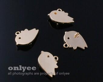 4pcs-12mmX15mmGold  plated Brass Cute Sparrow Pendant(K350G)
