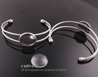 2pcs-rhodium plated Brass Adjustable Cuff Bracelet 20 mm Setting With with Matching Glass Cabochons(E309)