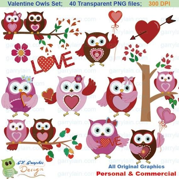 Items similar to Valentine owl clip art, 40 owl clipart ...