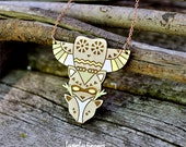 Totem wood pendant owl-raccoon-deer (laser cut)