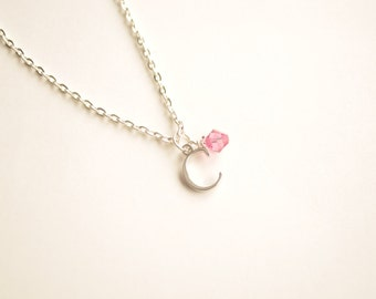 Children's Initial Necklace with Crystal Birthstone on Silver Chain