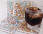 2002 Antwerp Belgium Handmade Map Coasters - Ceramic Tile Coasters Set of 4 - Repurposed 2002 Michelin Atlas page - OOAK Drink Coasters