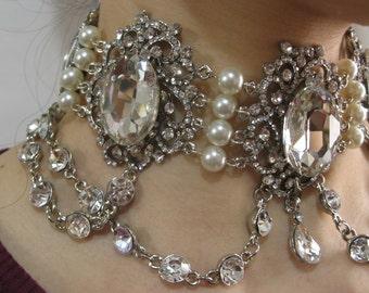 Treasury chandlier dangly sparkle Swarovski rhinestone crystals wedding bridal choker necklace, bridal jewelry, rhinestones necklace, engage