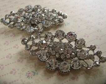 Wedding shoe clips, crystal shoe clips, rhinestone shoe clips, silver shoe clips, shoe decoration, vintage shoe clips