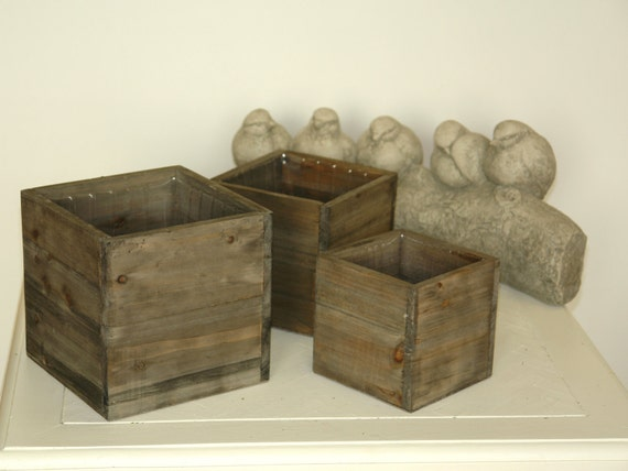 Items similar to wood box woodland planter flower box - Small rustic wooden boxes ...