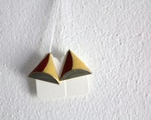 SALE 50 OFF Geometric Earrings Vintage Stud Earrings Tricolor Triangle Shape Yellow Red Grey Spring Summer Fashion Accessories
