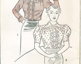 Vintage 'Excella' Pattern From the 1930s - Pattern No. 5359, Bust 34 - Women's Blouse