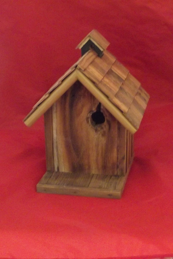 Birdhouse barn board wood with a natural hole by - Old barn wood bird houses ...