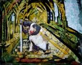 Silk Original batik handpainted  Knight Gothic.Christian Religious painting.