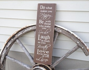 Wood sign, hand painted, Inspiring Sign,  7 x 24, with a Distressed Finish