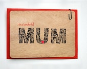 WOODEN Greeting Card - To A Wonderful Mum - Printed on Real Wood. Papette Boutique.
