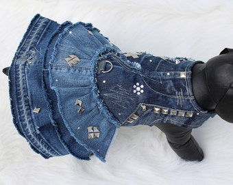 OOAK Upcycled Denim Ruffle Dress for Edgy Unique Fashion Dogs, Rocker