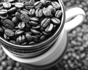 Black and white coffee photography coffee beans photo fine art print fair trade coffee decor beans gift for coffee lovers