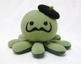 Mustache artist octopus plush toy with beret hat