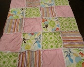 Baby Girl Rag Quilt Blanket Pink Green Yellow FREE SHIPPING