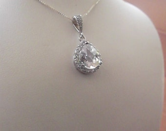Wedding Necklace Bridal Necklace cubic Zirconia Teardrop Pendant Pendant Sterling Silver chain