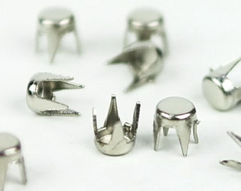 C-048 / Metal round  Studs /  100 pcs (Come with box) /  3.5 mm. / Color - silver
