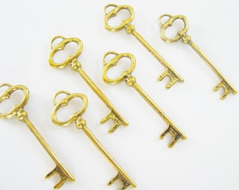 Shop Closing Sale!  6 pcs Antiqued Gold Vintage Style Key Charm or Pendant 40mm x 14mm CM026-AG
