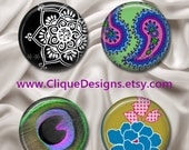 "Any 4 Magnetic Design Inserts - Fit Clique & Magnabilities 1"" Jewelry Bases - Choose From Hundreds of Beautiful Interchangeable Designs"