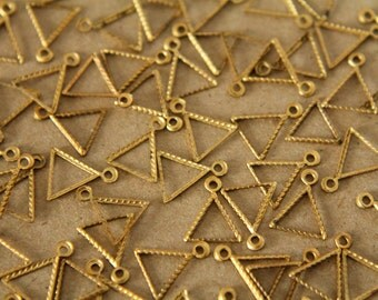 16 pc. Small Raw Brass Triangle Outline Charms: 10mm by 9mm - made in USA | RB-086