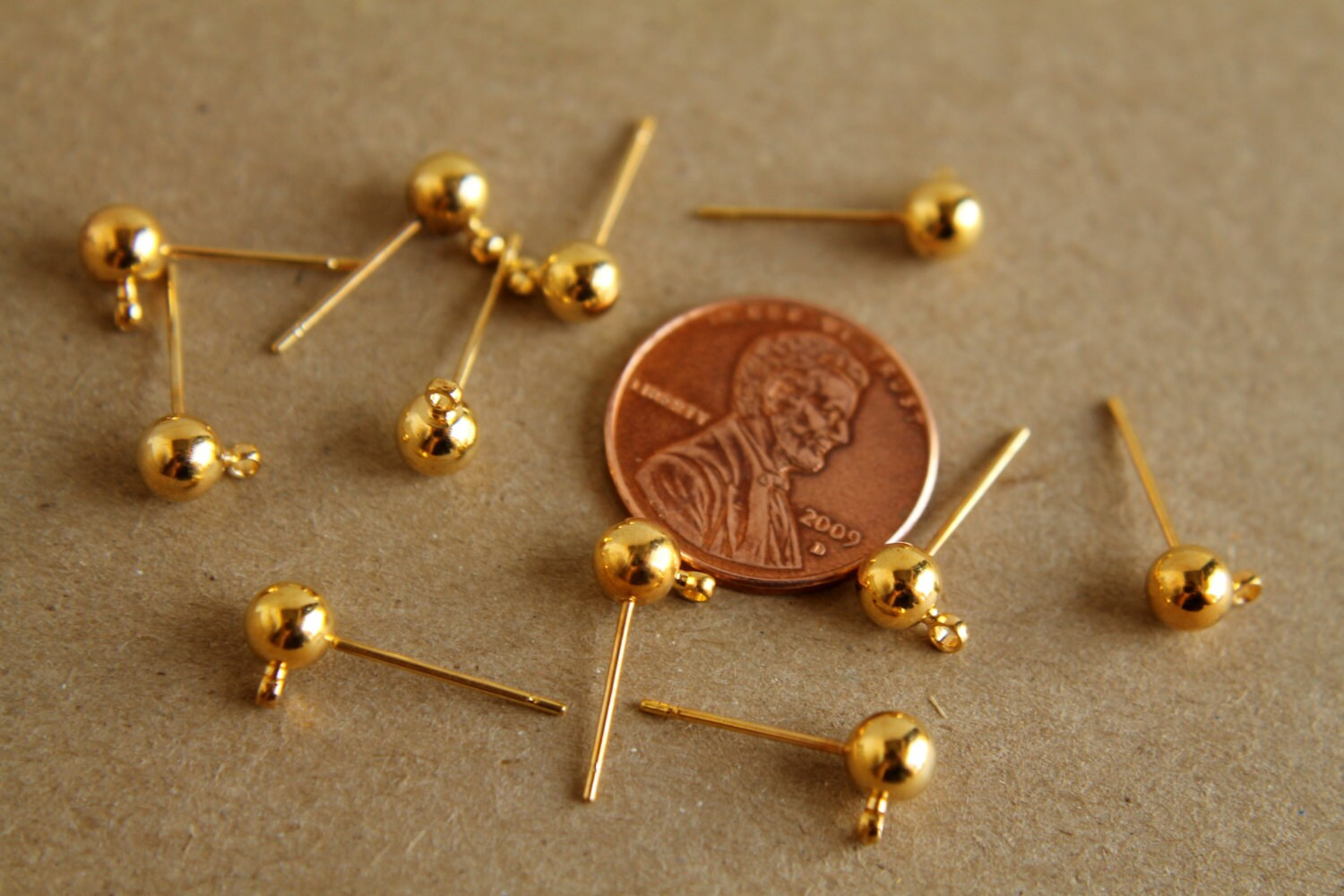 10 Pc Gold Plated Ball End Earring Posts Fi 051 From