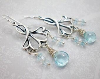 Sky Blue Topaz Sterling Silver Dangle Earrings, Light Blue Topaz Stones, Silver Art Deco, Bridal Earrings, Wedding Jewelry, inv59