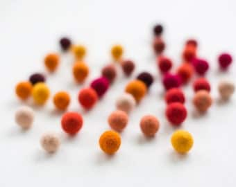 50 felt wool balls (1/2 in. size) hot mix color: red orange bordeaux yellow burgundy brown