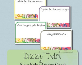 Baby Shower Advice Cards - Dizzy Twirl - Rainbow Swirls digital download printable