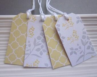 Yellow and Gray wedding / gift / favor tags, set of 24