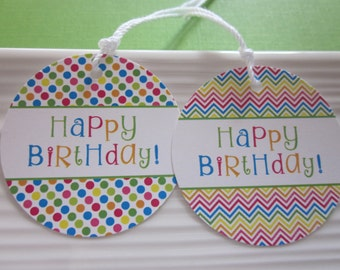 Happy Birthday gift tags / bright polkadot and chevron / set of 8