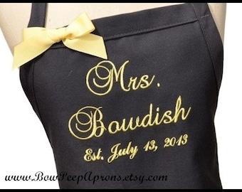 "Wedding Dress ""Mrs."" Apron and Date of Wedding - Personalized Brides Apron, Brides Last Name Apron, Wedding Apron, Customized Wedding Date"