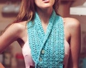 Crochet cowl teal custom order turquoise knit scarf teal blue aqua spring finds winter scarf women's accessories - TigsTogs