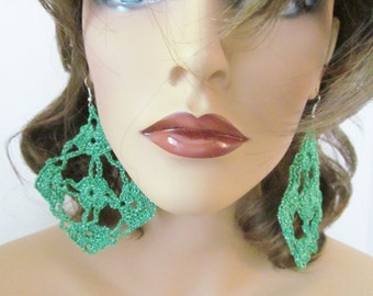 Green Crochet Earrings