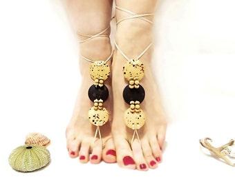 Natural barefoot sandals, Cream, Brown cream beaded barefoot sandal, Wooden beads, Anklet, beige barefoot sandal, yoga, barefoot sandal