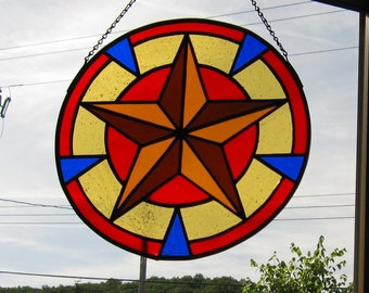 Tiffany Style Round Hex Star Stained Glass Panel in Red Blue and Browns