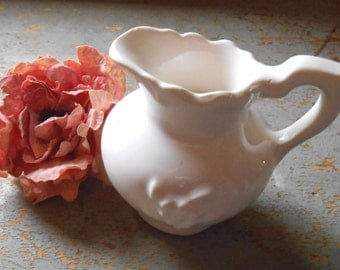 Vintage Creamer, White, Small, Pitcher, Vase, Syrup Pitcher