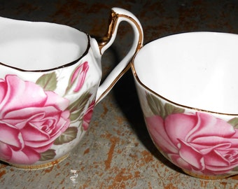 Vintage Cream & Sugar Set, Royal London, Pink, Roses, Gold Trim, Bone China, England
