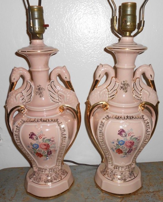 Vintage Table Lamps With Flowers : Vintage lamps pink birds floral set of two lights table