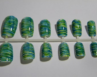 Customizable Blue and Green Sugar Spun False Nails