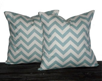 "20"" Decorative Pillows Seafoam and Natural Chevron- 20 x 20 inch square - TWO PILLOW COVERS"